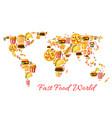 fast food world map cartoon poster design vector image vector image