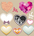 Set of paper lace metall hearts Elements for Valen vector image vector image
