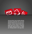 group of icons in a pocket template grey red vector image