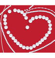 pearls neclace of heart shape vector image