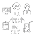 Logistics shipping and delivery icons sketches vector image vector image