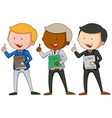 Three men in suit holding law books vector image vector image