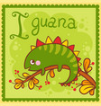 alphabet letter i and iguana vector image