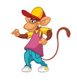 cool pretty monkey dancing in modern clothes vector image