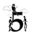 fashion girls in sketch style with number vector image