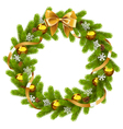 Fir Wreath with Golden Decorations vector image