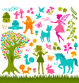 magic forest silhouetes vector image