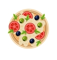 Pizza with Tomatoes and Olives Served Food vector image