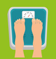 pregnant women feet standing on weight scale vector image