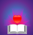 Red heart with book vector image