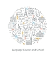 Modern thin line concepts of learning foreign vector image