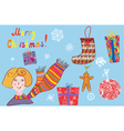 Christmas set of details with girl vector image vector image
