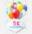 Milestone 5000 Followers Background with balloons vector image vector image