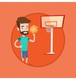 Hipster basketball player spinning ball vector image