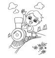 Little boy driving a toy train coloring page vector image