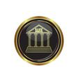 bank icon button gold copy vector image vector image