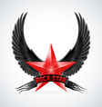 Red star with Rock Star banner and wings vector image vector image