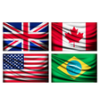 Four flags - UK Canada USA Brazil vector image