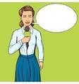 Reporter journalist woman pop art style vector image