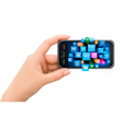 Hand holding mobile phone with icons vector image