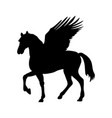 pegasus silhouette mythology symbol fantasy tale vector image