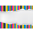 Ripped paper with print color stripes vector image