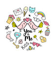 you and me lettering with girly doodles vector image