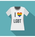 T-shirt i love LGBT icon flat style vector image