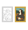 Linear flat of portrait The Mona Lisa by Leonardo vector image