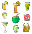 colorful various drink doodle set vector image