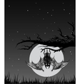 Bat is hanging on a branch in the nighttime vector image