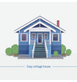 blue cozy cottage house vector image