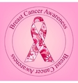 Breast cancer awareness stamp with painted ribbon vector image
