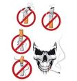 Cartooned smoking kills and no smoking concepts vector image