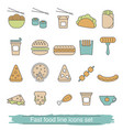 fast food line icons set fast food line icons set vector image