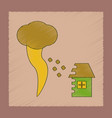 flat shading style icon tornado destruction house vector image