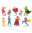 kids superheroes retro set vector image