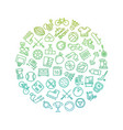 sport tools line icons in circle design vector image