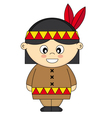 Child dressed as an American Indian vector image vector image