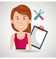 woman clipboard tool app vector image