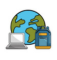 global planet with laptop and backpack tool vector image