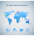 World map infographic with Globe icons vector image vector image