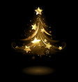 Golden fir with stars vector image vector image
