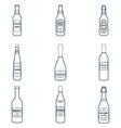 dark outline alcohol bottles icons set vector image