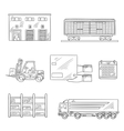 Delivery and storage service sketch icons vector image vector image