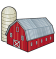barn and silo vector image