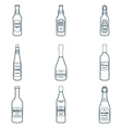 dark outline alcohol bottles icons set vector image