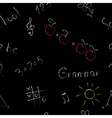 Elementary school seamless pattern on a blackboard vector image