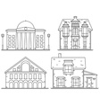 Houses line icon set vector image