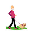 senior man walking with dog elderly people active vector image